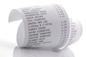Close-up of a grocery receipt