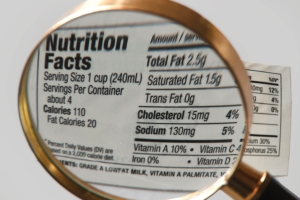 A nutrition facts label seen through a magnifying glass