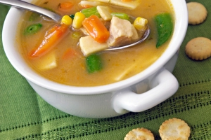 Close-up of a bowl of chicken vegetable soup