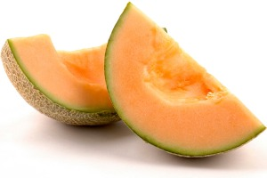 Two cantaloupe wedges