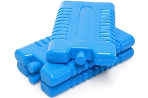 Three blue plastic ice-packs.