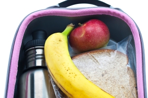 A water bottle, apple, banana, and sandwich in a lunchbox.